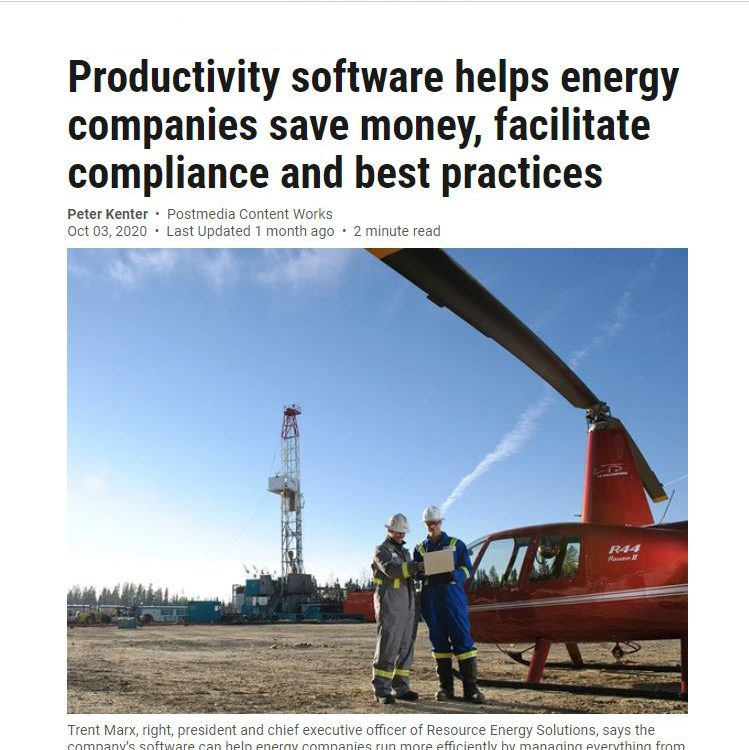 Calgary Herald - RES - Productivity software helps energy companies save money, facilitate compliance and best practices
